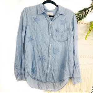 Rails star denim button down